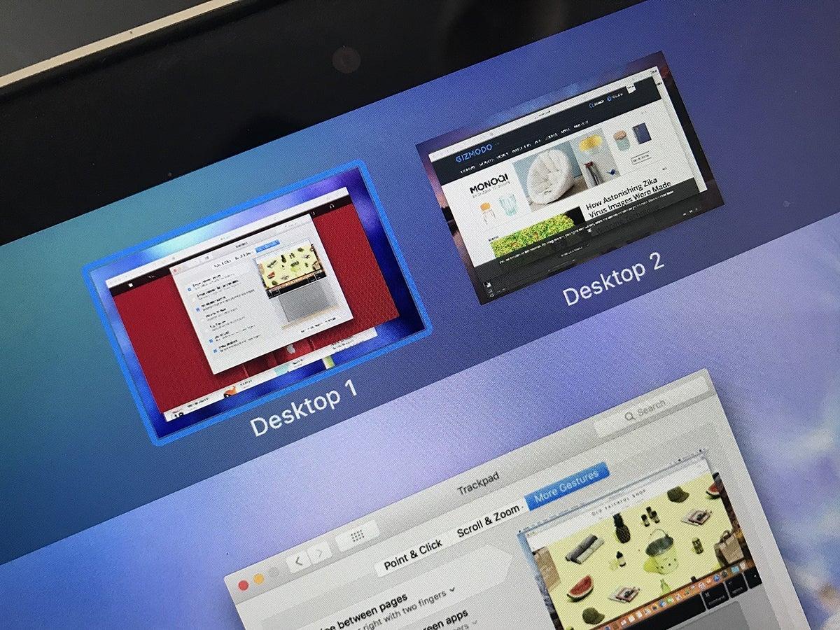 Multiple desktops on a Mac computer.