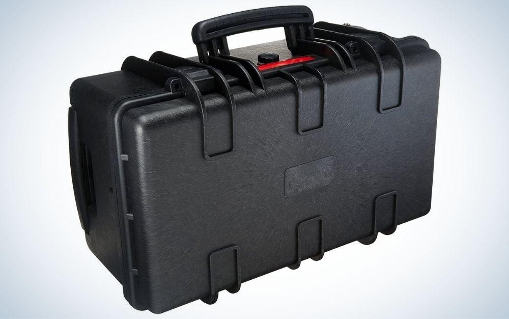 Black, hard rolling camera case