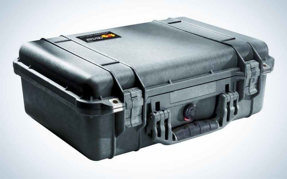 Black camera case with foam