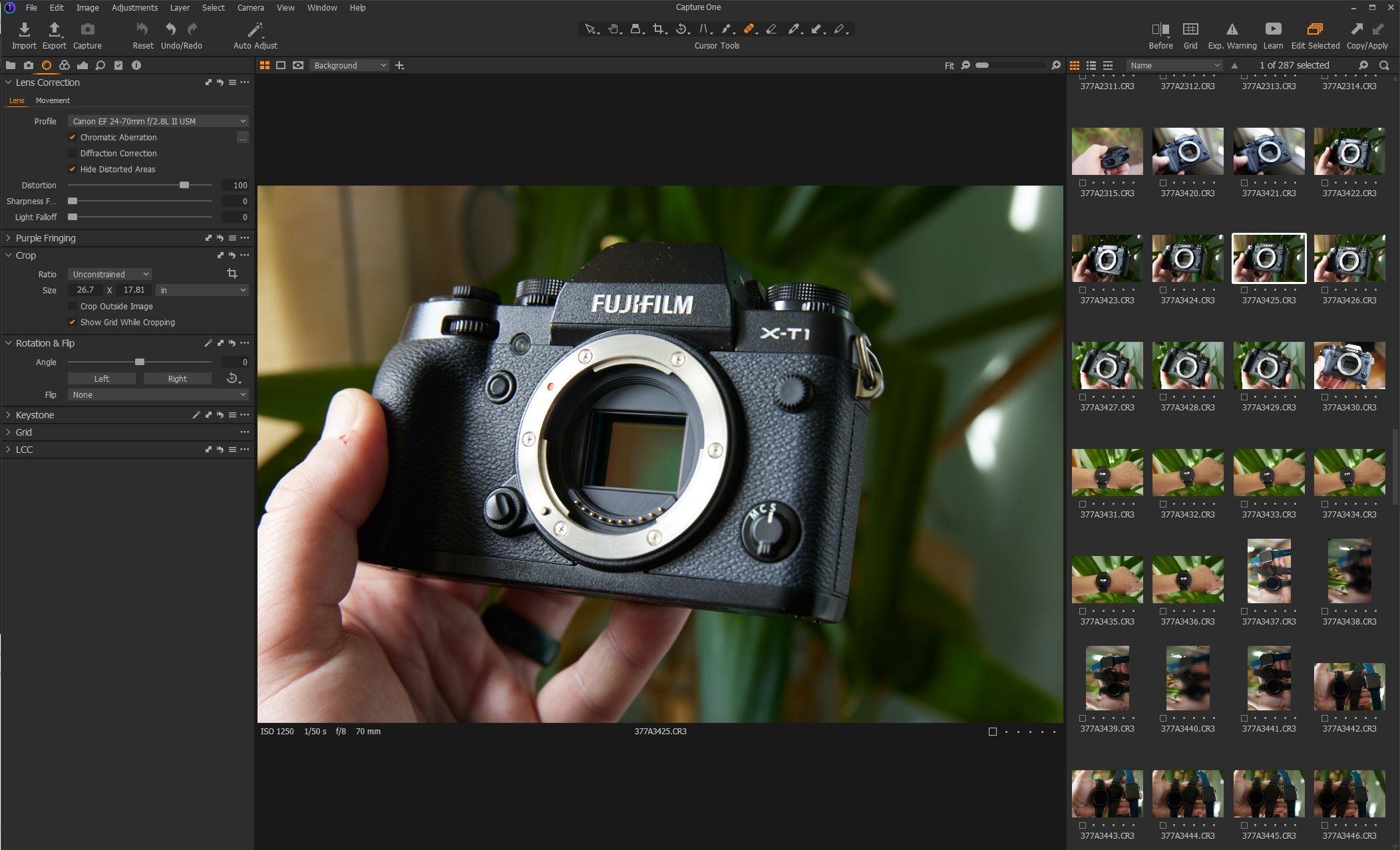 Capture One Pro camera details