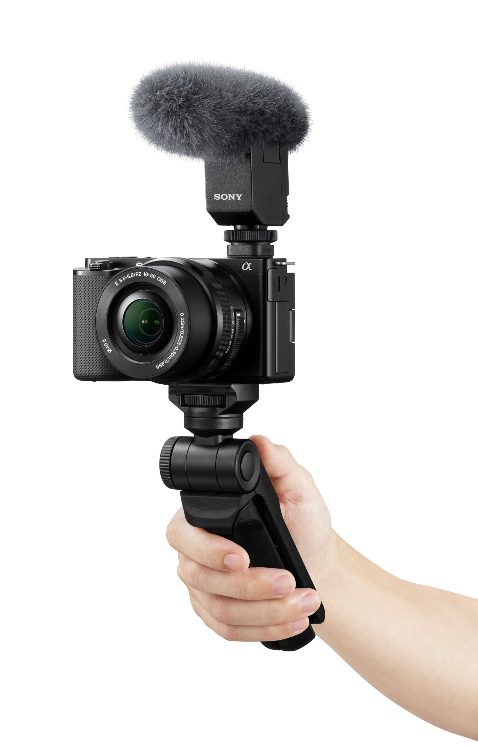 Sony ZV-E10 camera on a grip with a mcirophone