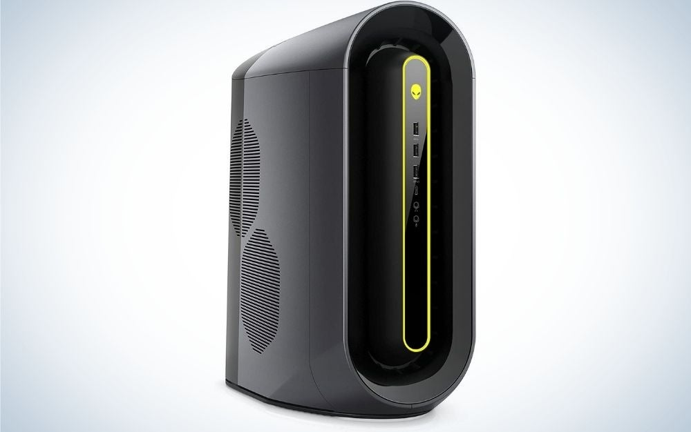 A desktop computer which is tall and slender in the shape of a black cylinder with some buttons and small green lights in front.
