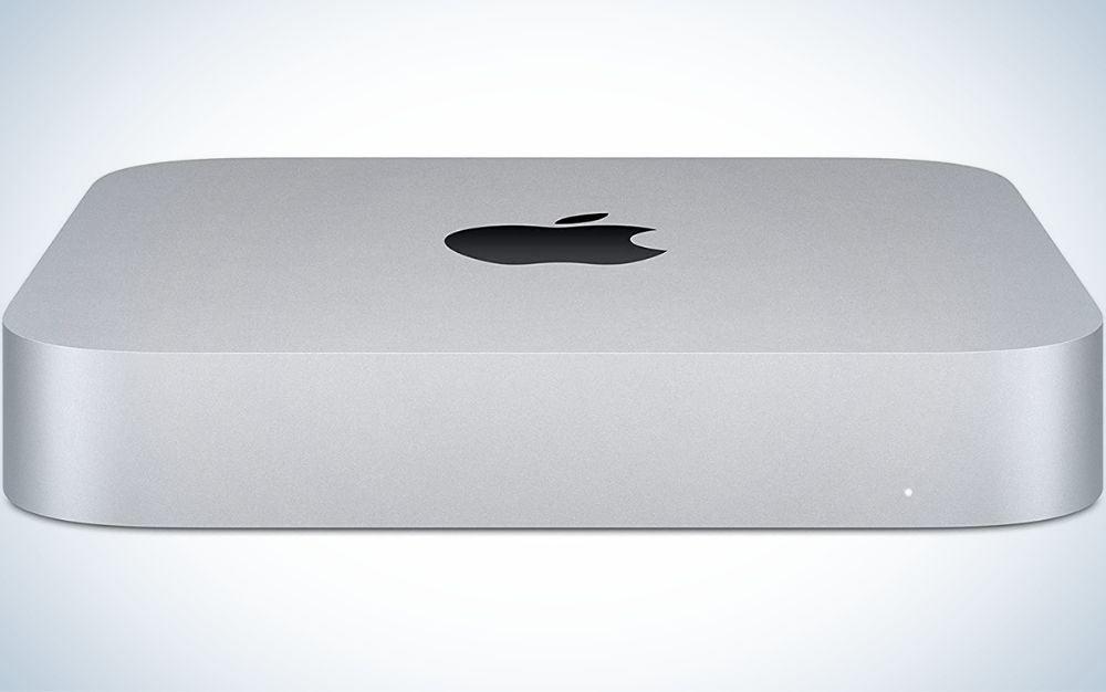 A white box with the Apple Mac mini brand mark.