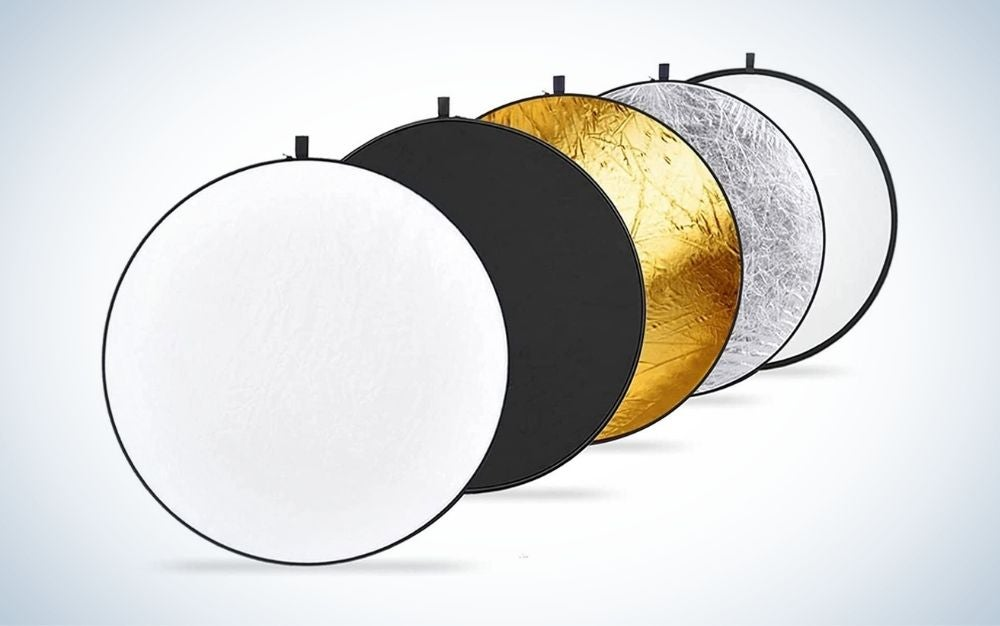 The Neewer 5-in-1 Collapsible Light Reflectors are the best reflector set.