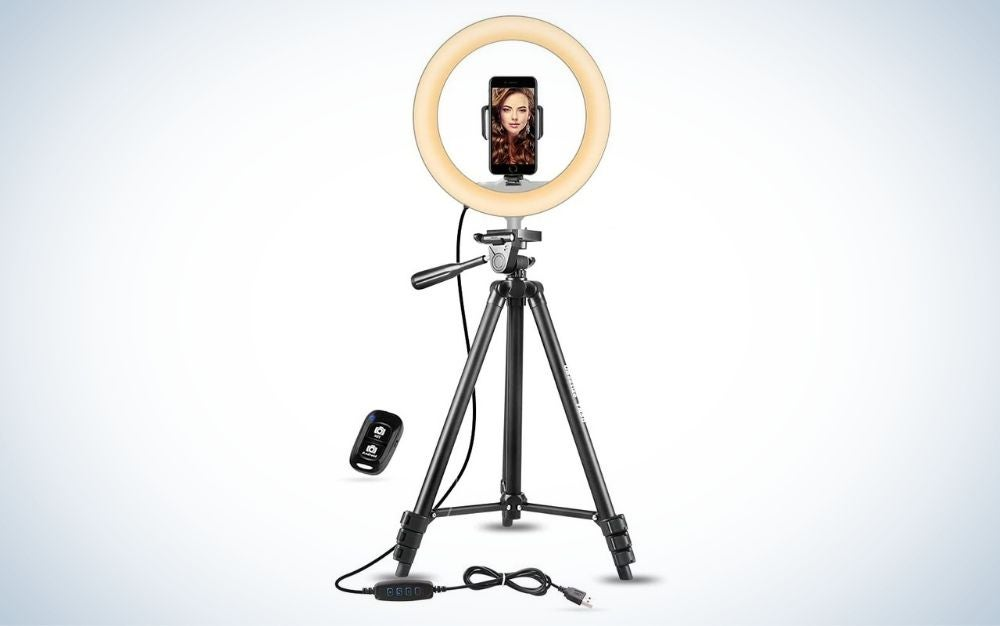"""UBeesize 10""""Selfie Ringlight with Tripod is the best phone tripod."""