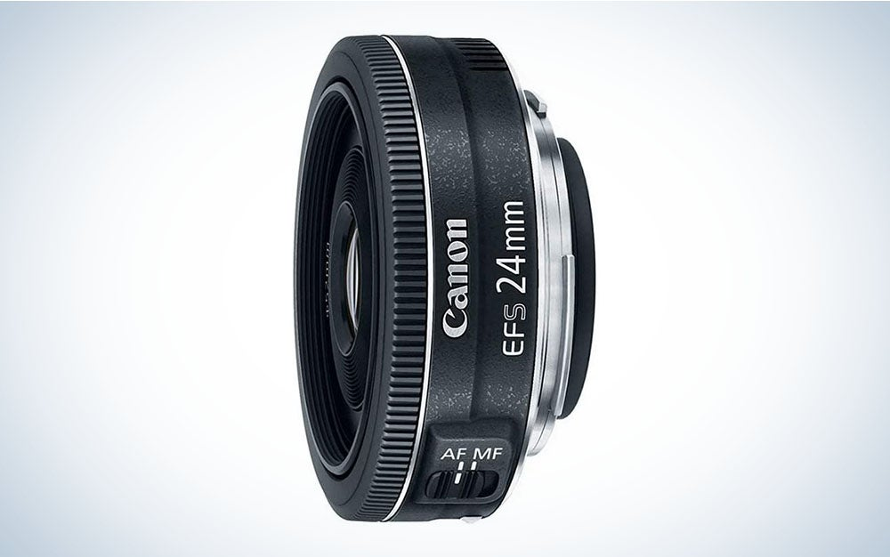 The Canon EF-S 24mm, f/2.8 STM is the best budget wide-angle lens.