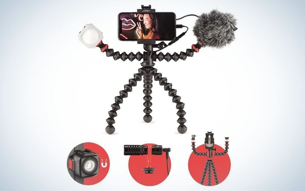 Joby GorillaPod is the best phone tripod for travel.