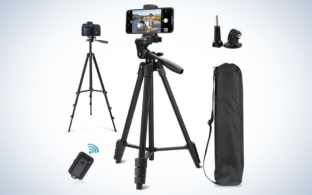 """Sumcoo 53"""" Extendable Aluminum Tripod is the best phone tripod for vlogging."""