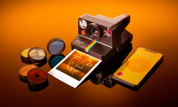 The Polaroid Now+ instant film camera connects to a smartphone via Bluetooth