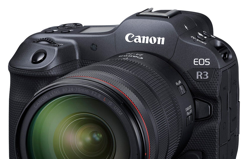 Canon EOS R3 mirrorless camera with lens