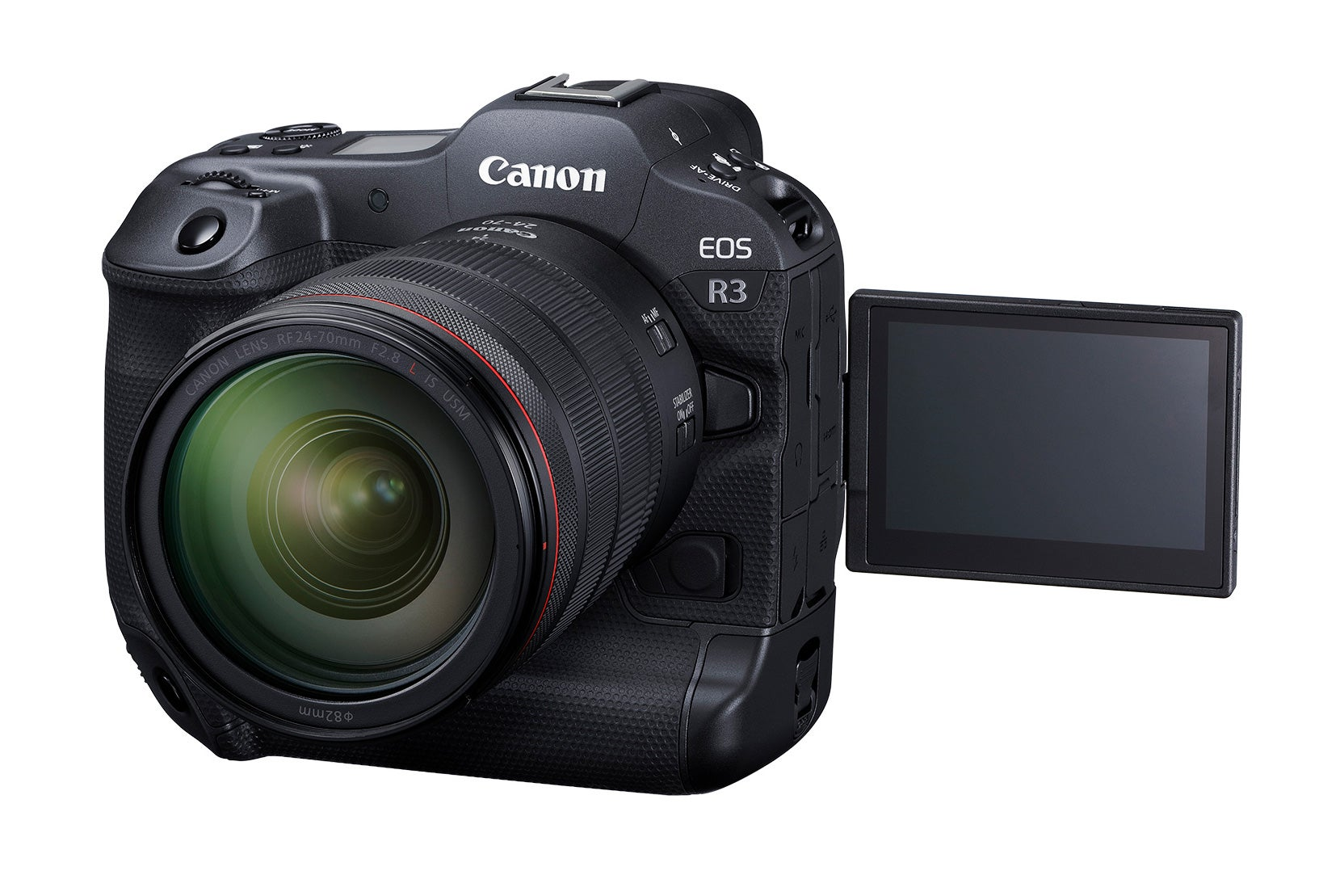 Canon EOS R3 mirrorless camera rotating screen