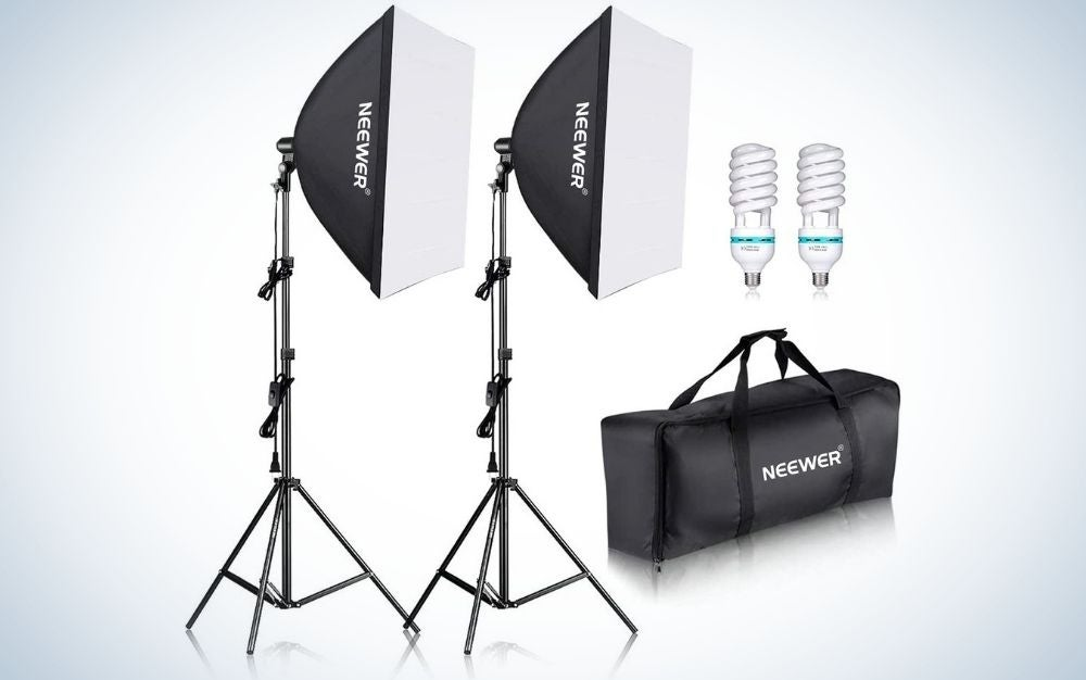 This Neewer 700W kit is the best portrait lighting kit.