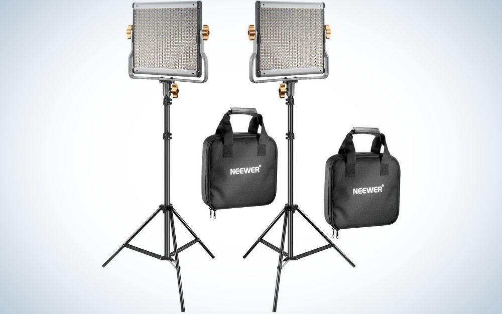 The Neewer kit is the best portrait lighting kit.