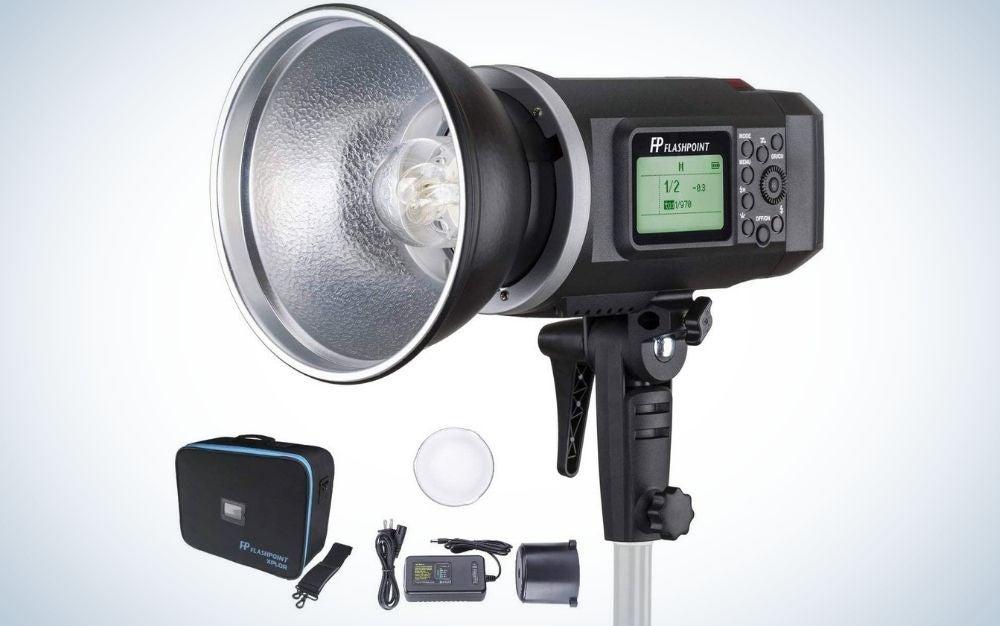 The Flashpoint XPLOR 600 is the best portrait lighting kit.