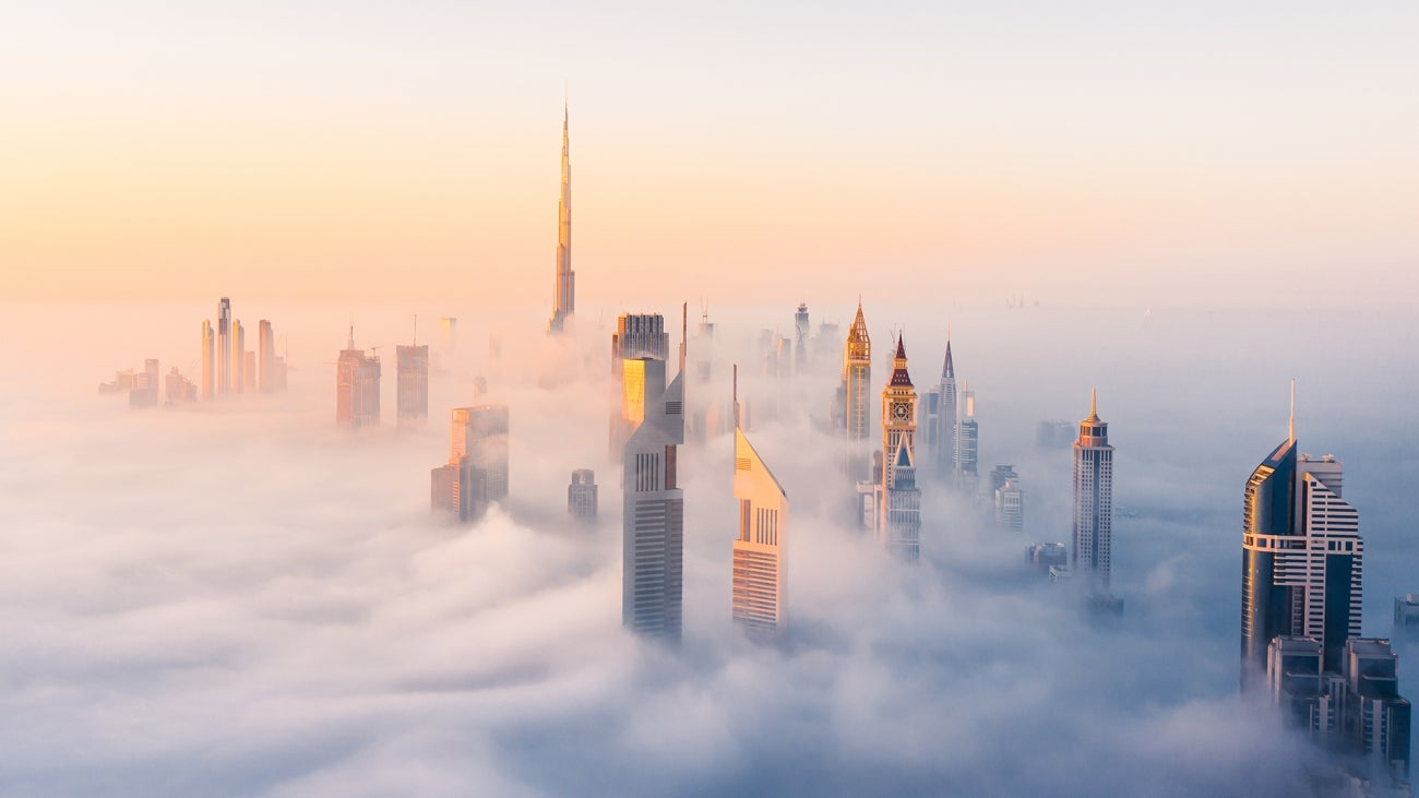 A foggy morning in downtown Dubai. Very rare conditions, caused by the cold nights and warm mornings