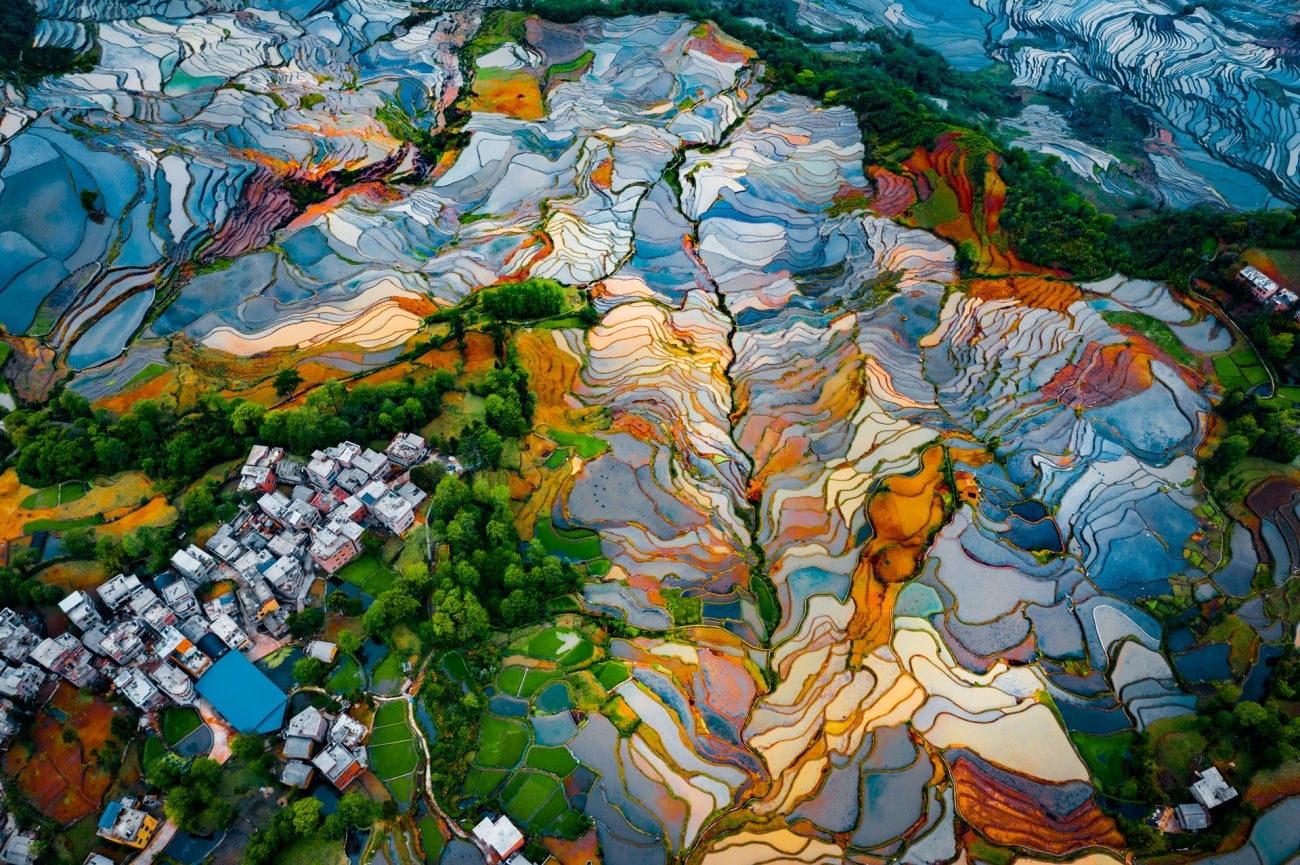 A spectacular aerial view of the famous Duoyishu terraces where rice is grown