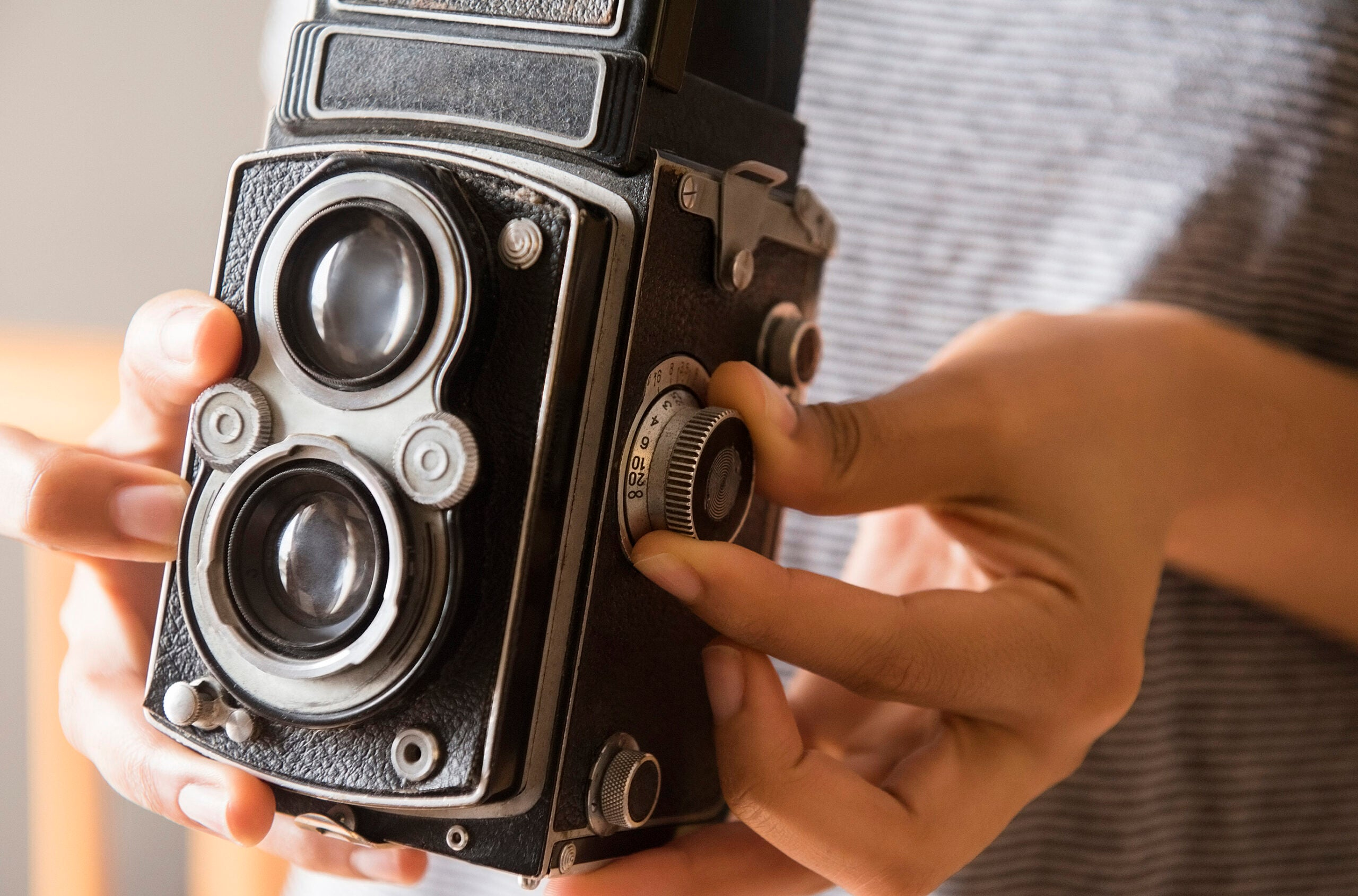 A Rolleiflex medium format camera
