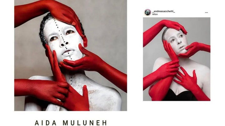 The image on the left is by acclaimed artist, Aïda Muluneh. The image on the right is by photography student Andrea Sacchetti, who has been accused of copying the former and showcasing it in a group exhibition.